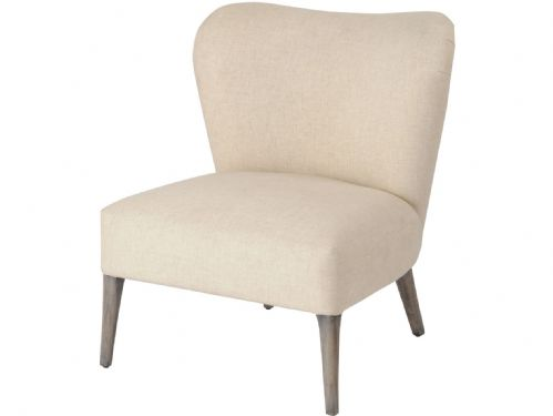 Homestead Cream Linen Mindi Wood Occasional Chair